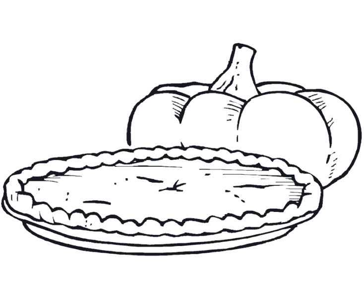 Pumpkin Pie Coloring Page Sketch