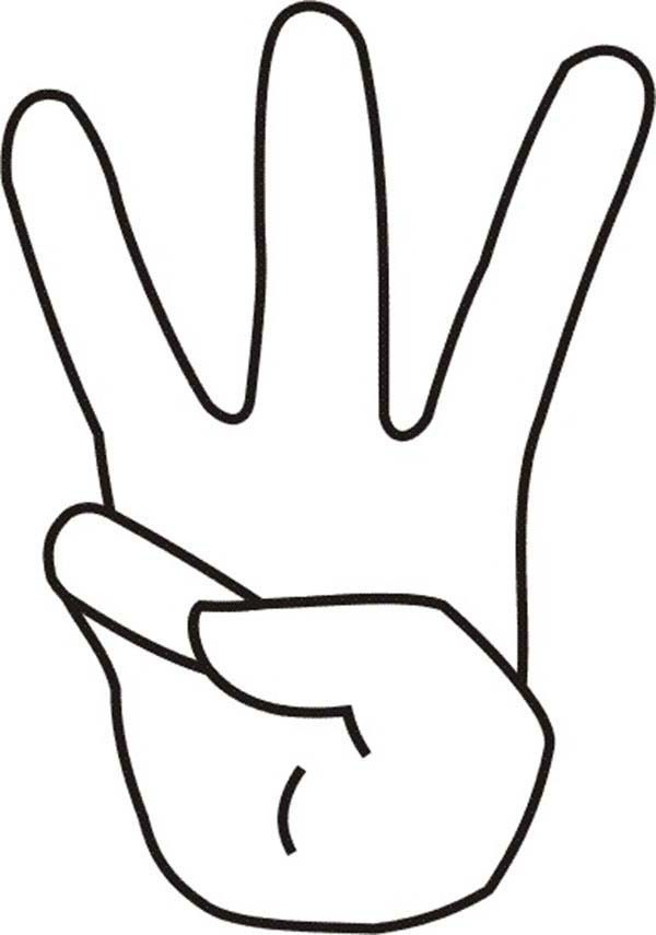 number 3 coloring pages - number 3 finger count to coloring page sketch coloring page