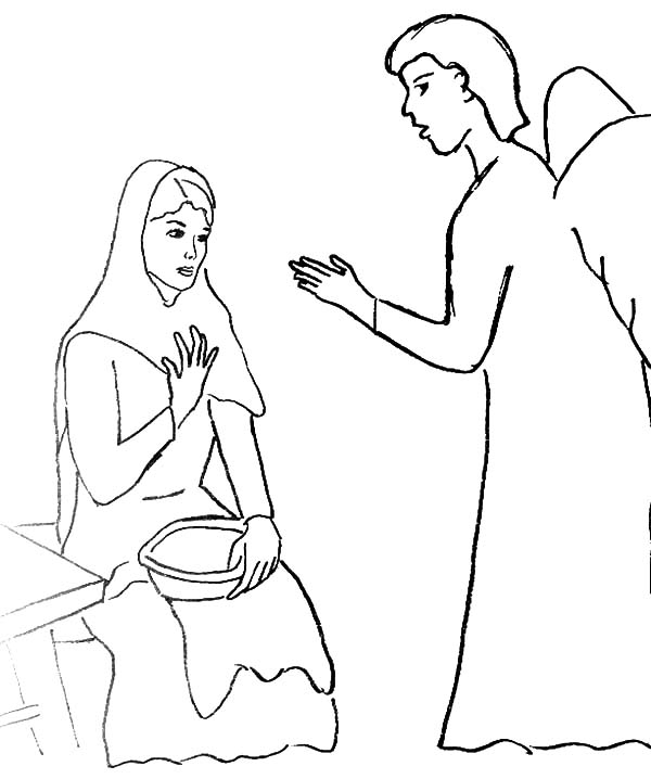 Coloring Page Angel Visits Mary  Coloring Pages For Kids and All Ages